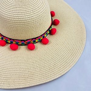 Pom Pom Colorful Summer Beach Hat Sun Hat d19170a60f58